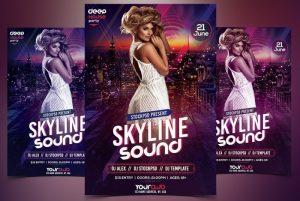 Skyline Sound – Free PSD Flyer Template