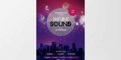 Skyline Sound – Free PSD Flyer Template