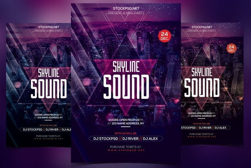 Skyline Sound – PSD Free Flyer Templates