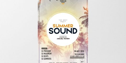 Summer Sound – Free PSD Flyer Template