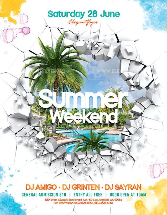 Summer Weekend – Free Flyer PSD Template