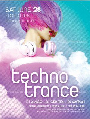 Techno Trance – Free Flyer PSD Template