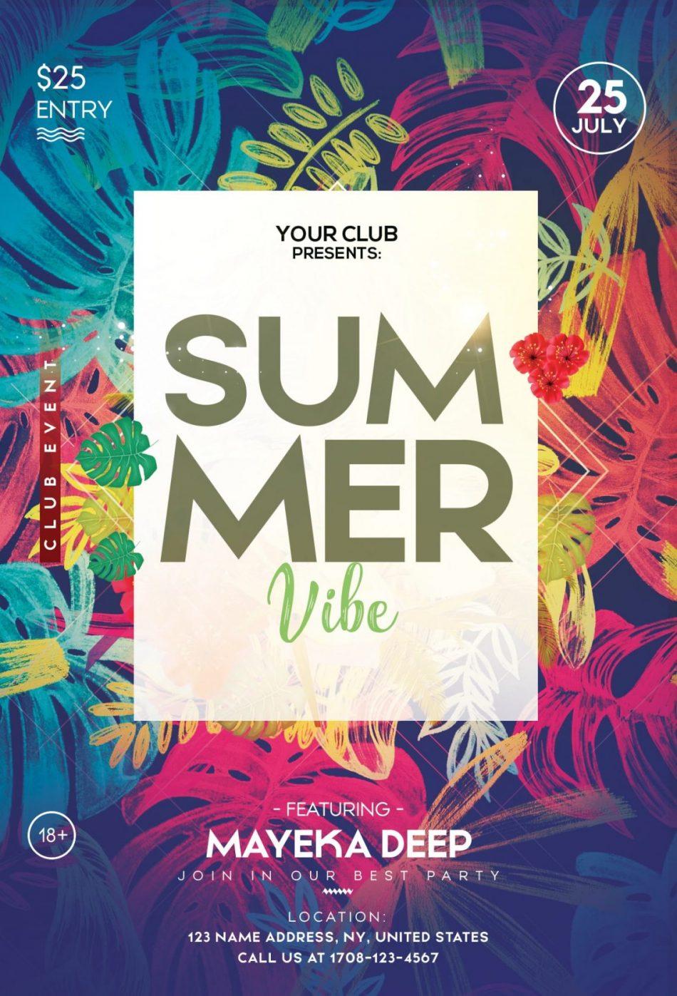 Tropical Summer – Free PSD Flyer Template