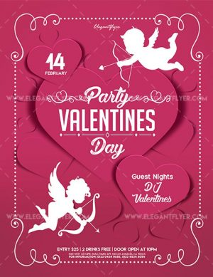 Valentines Day Party – Free Flyer PSD Template