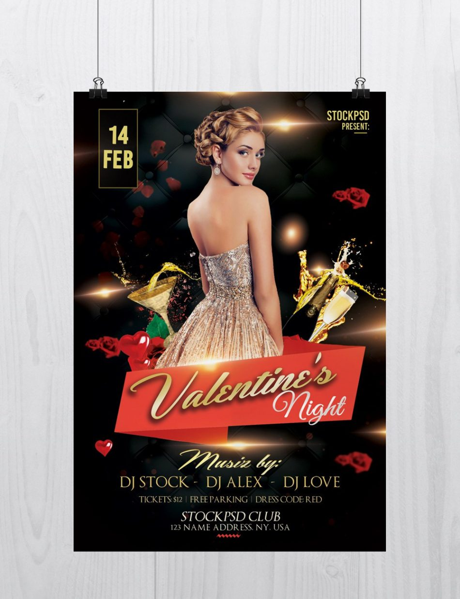 Valentine's Night – Free PSD Flyer Template