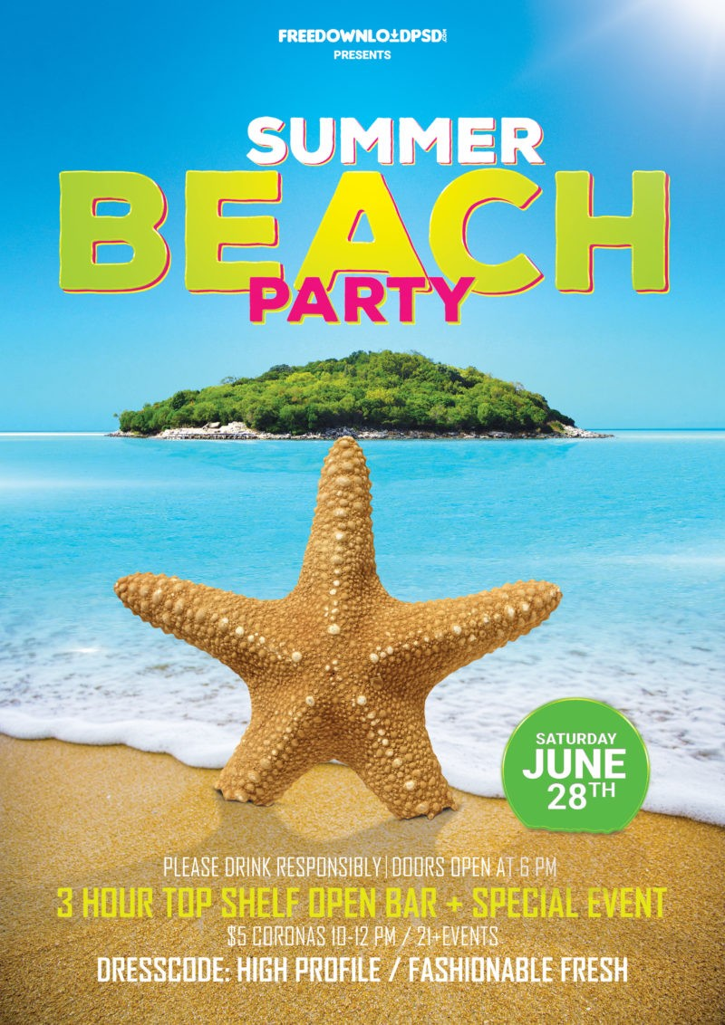 Beach Summer Party Free Flyer PSD Template