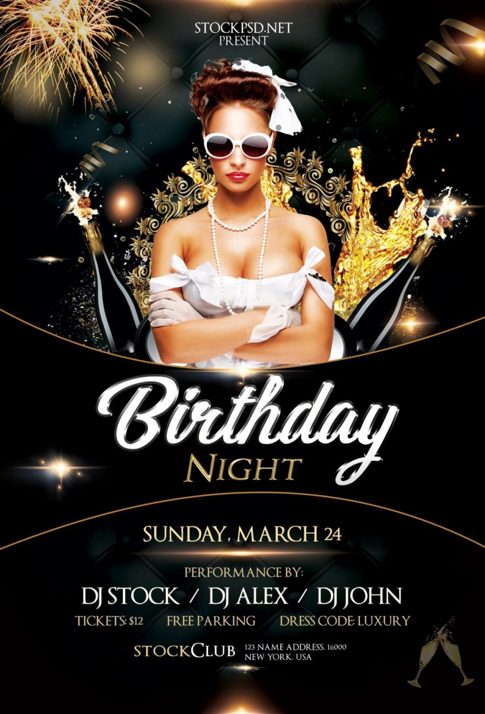 Birthday Gold Night – Free PSD Flyer Template
