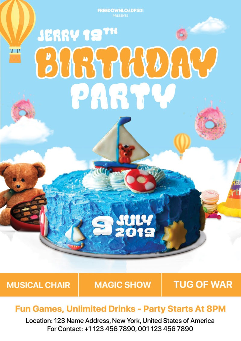 Birthday Party Free Flyer PSD Template