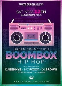 Boombox Hip Hop Free PSD Flyer Template