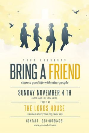 Bring A Friend to Church Free PSD Flyer Template