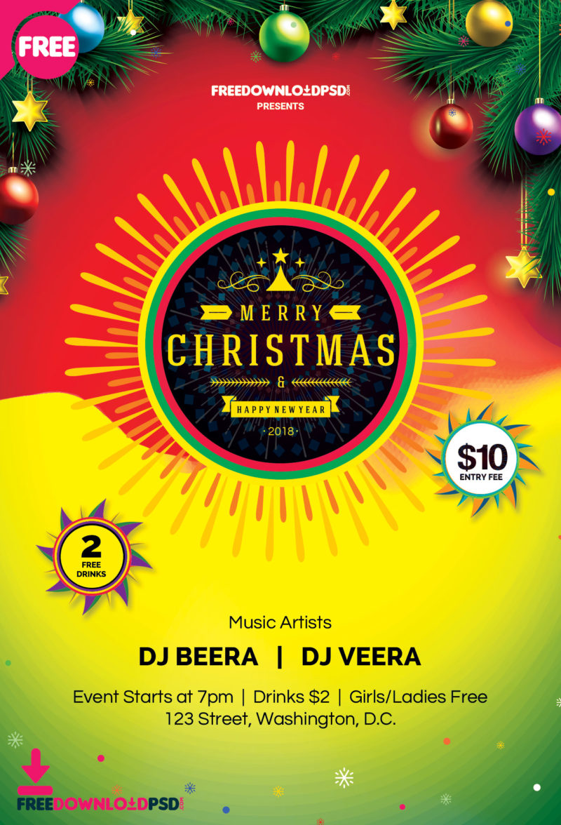 Christmas and New Year Flyer Template