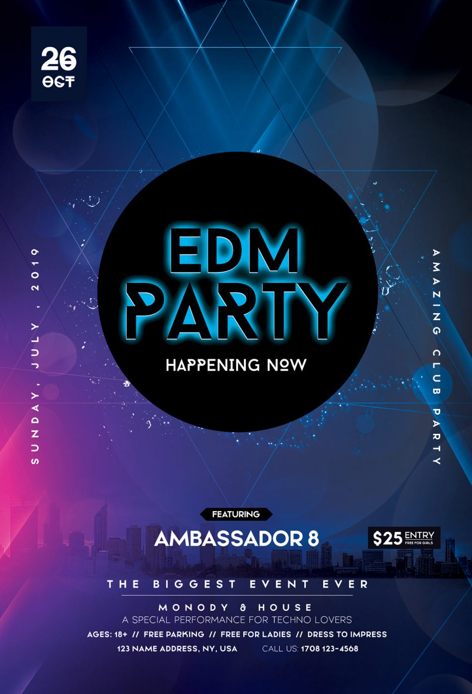 EDM DJ Party – Free PSD Flyer Template for Events