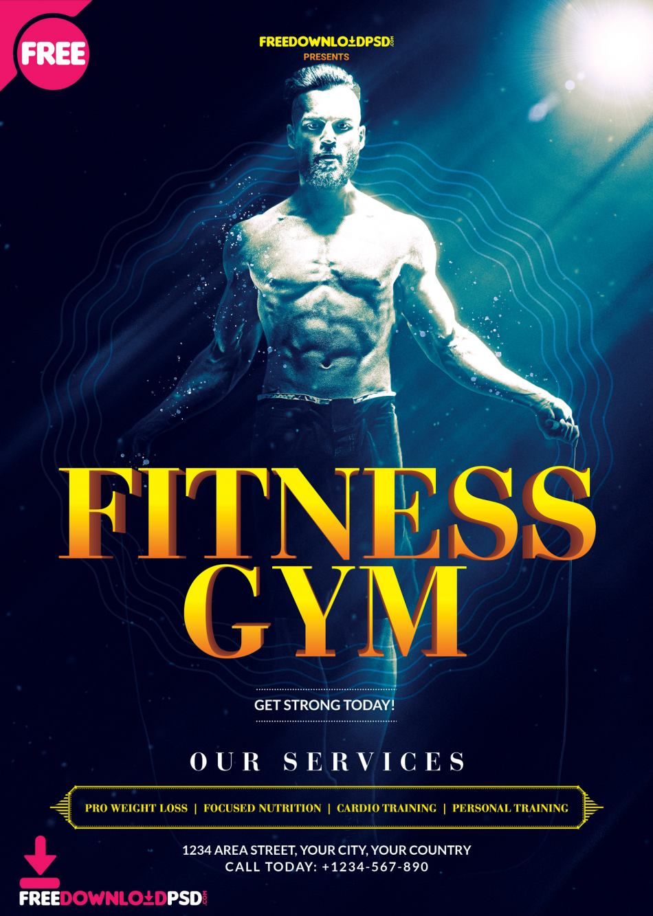 Fitness Gym Free Flyer PSD Template