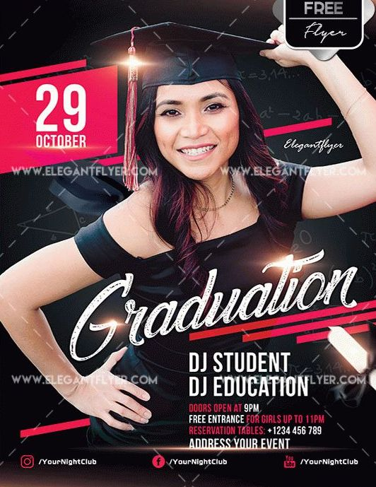 Free Graduation PSD Flyer Template
