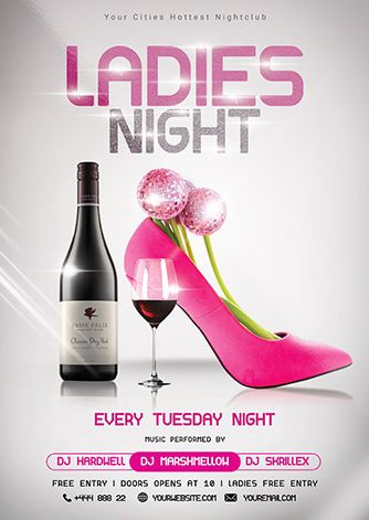 Free Ladies Night Flyer PSD Template