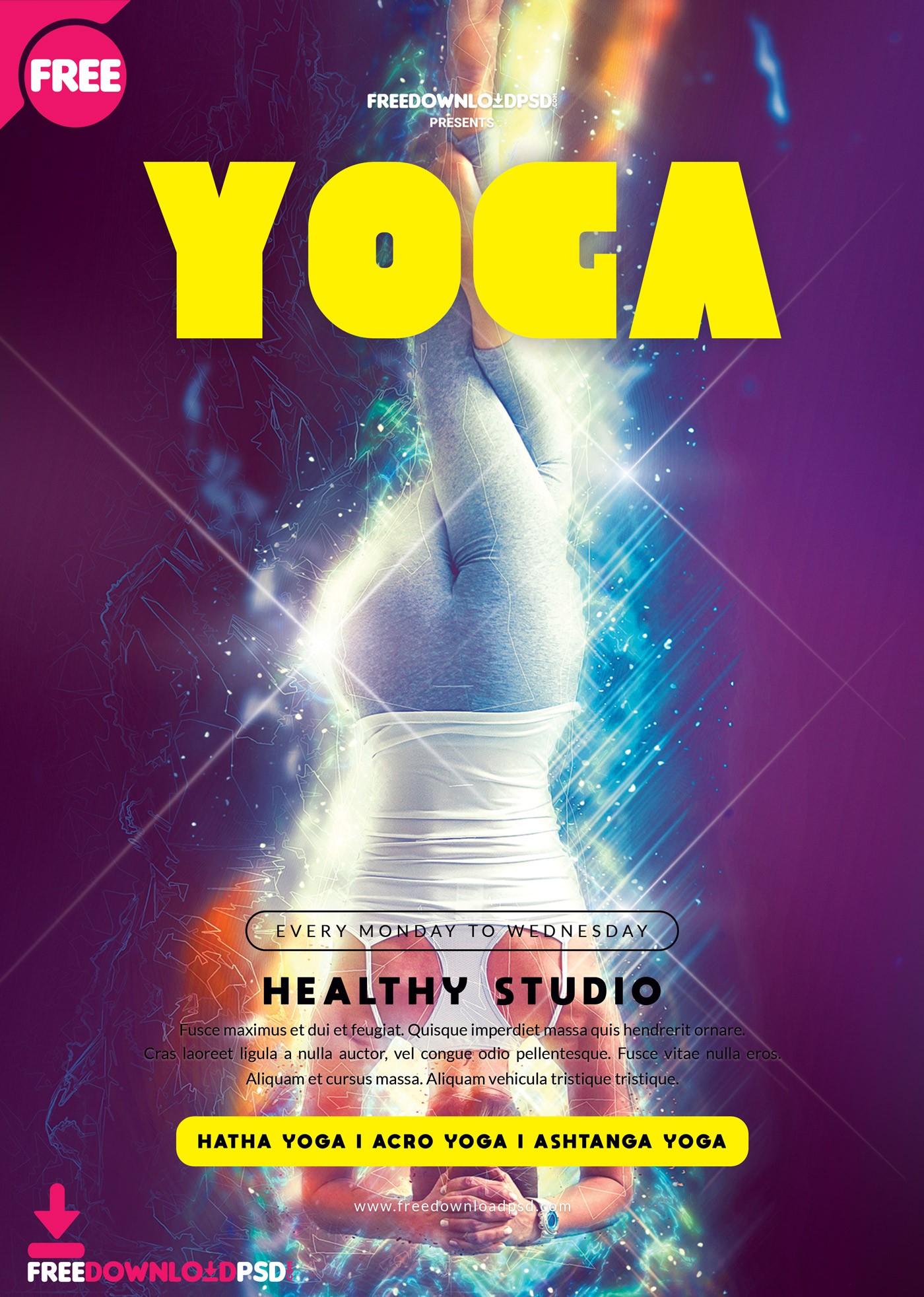 Free Yoga Flyer Template Psd Psdflyer