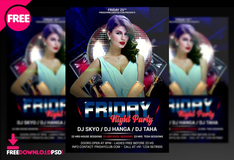 Friday Night Party Free Flyer PSD Template