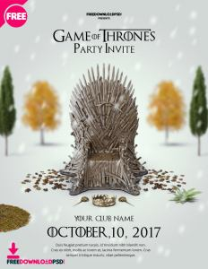 Game of thrones party invite Flyer Template