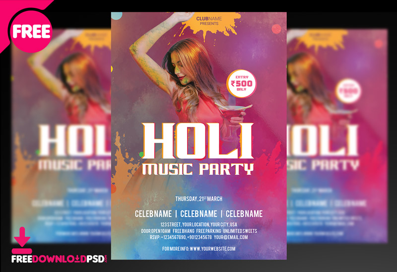 Hol Free PSD Flyer Template
