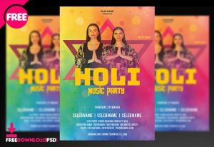 Holi Music Party – Free Flyer PSD Template