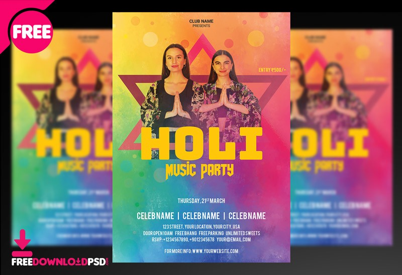 Holi Music Party - Free Flyer PSD Template