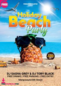 Holiday Beach Party Free Flyer PSD Template