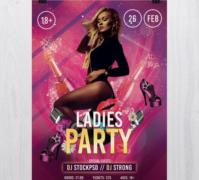 Ladies Party – Free PSD Flyer Template