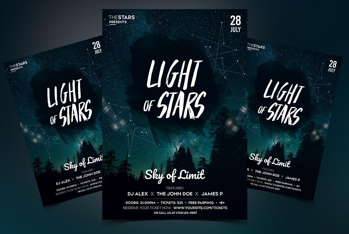 Light Of Stars Free PSD Flyer Template