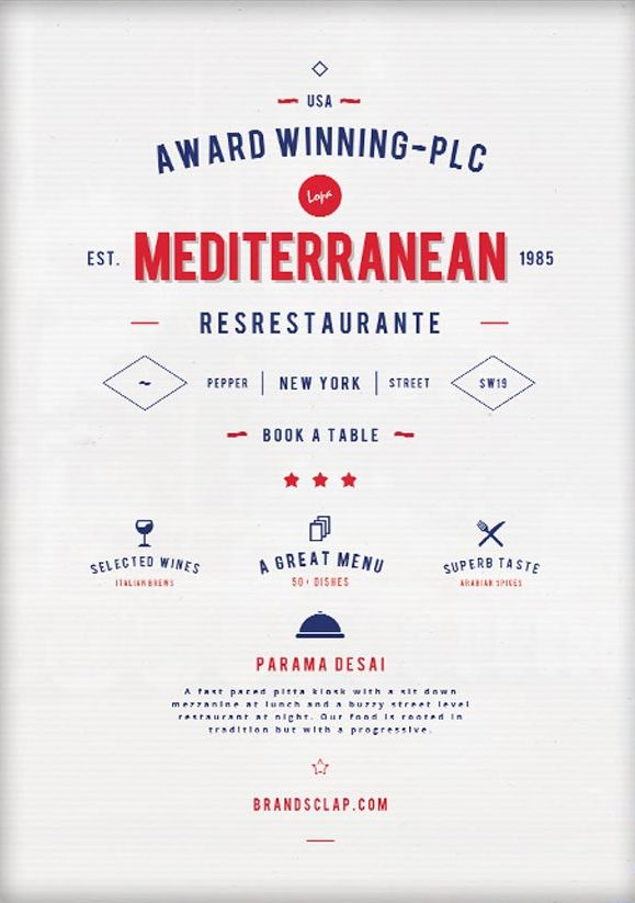 Mediterranean Food – Free Restaurant Flyer Template