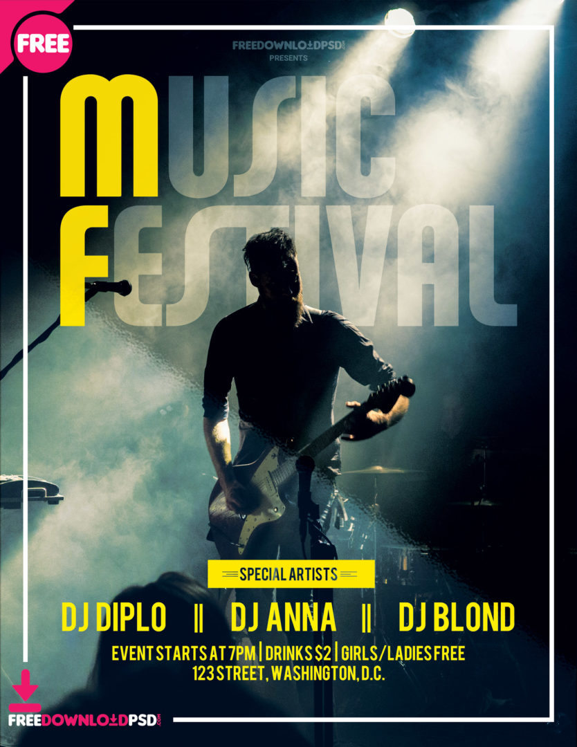 Music festival Freebei PSD Flyer Template