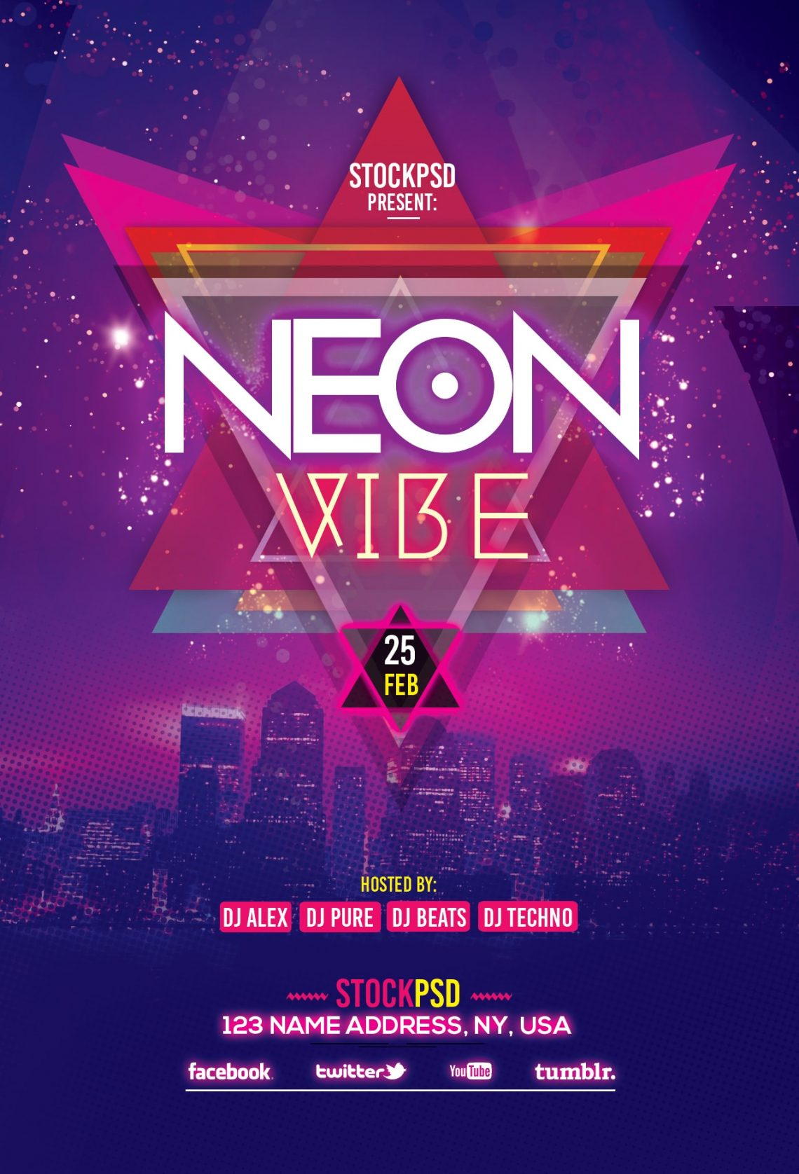 Neon Vibe – Free PSD Flyer Template