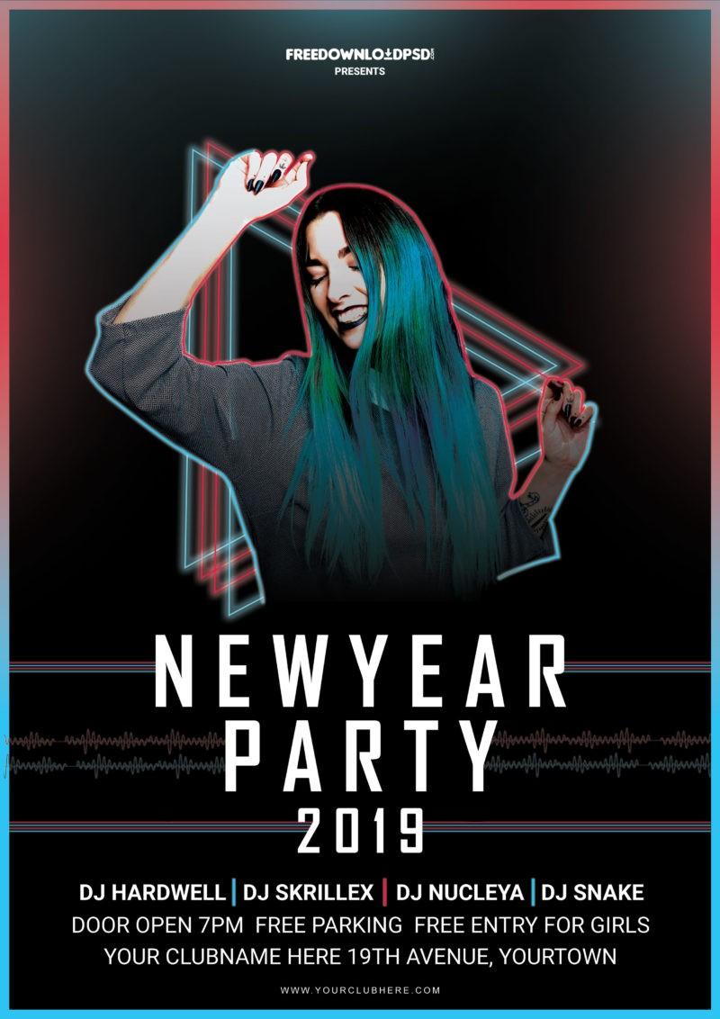 New Year Party Free Flyer PSD Template