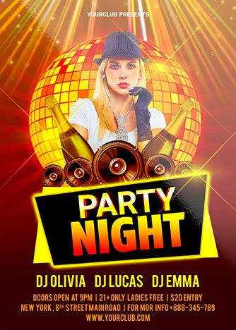 Night Party Free Flyer PSD Template