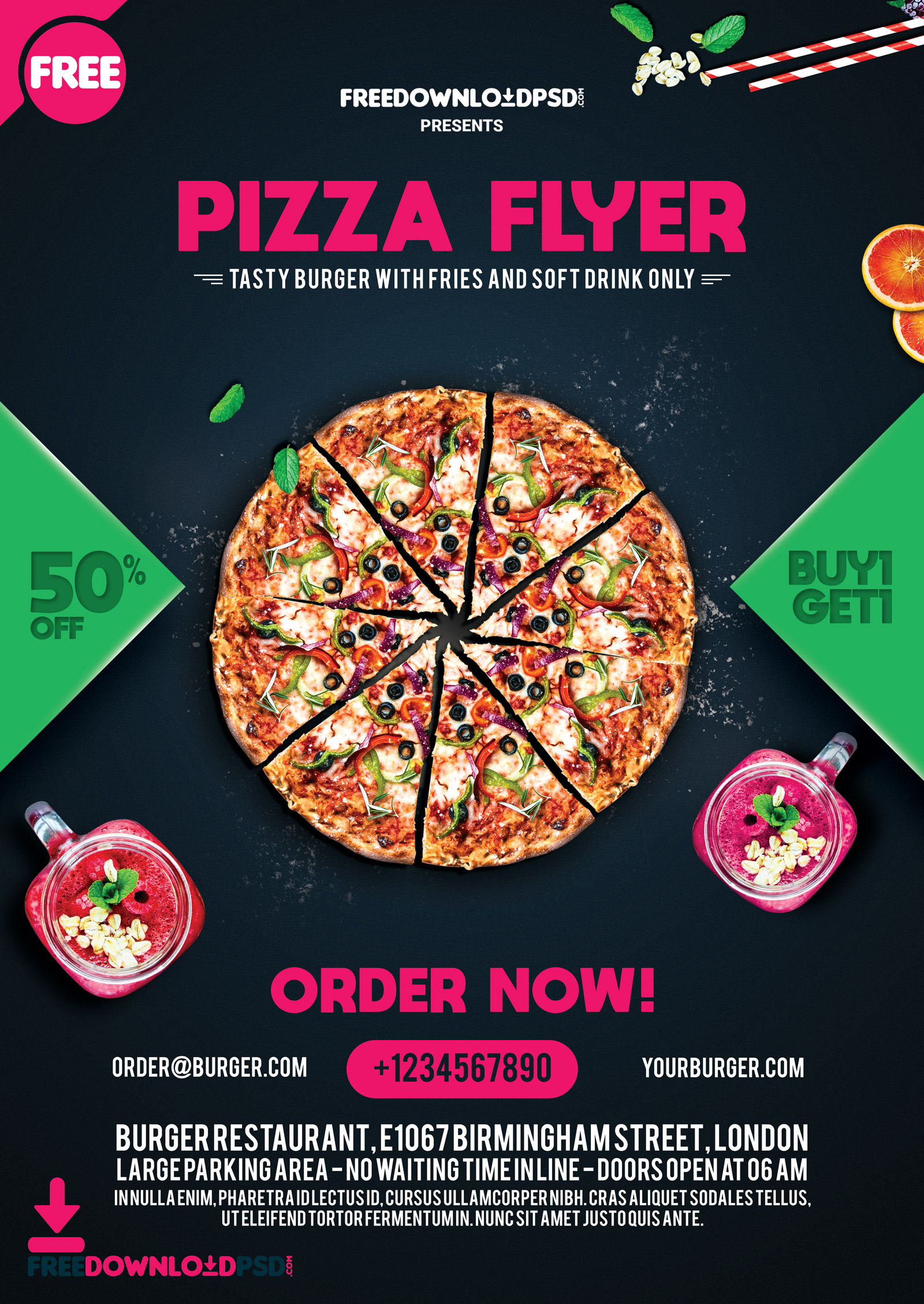 Pizza Flyer Free Template PSD