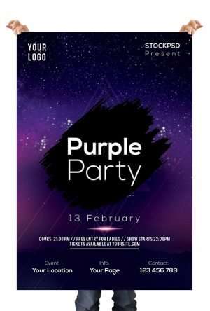 Purple Star Party - Free PSD Flyer Template