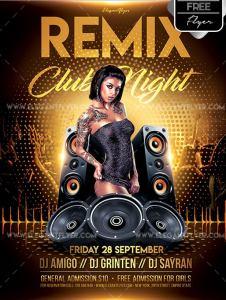 Remix Club Night – Free Flyer PSD Template