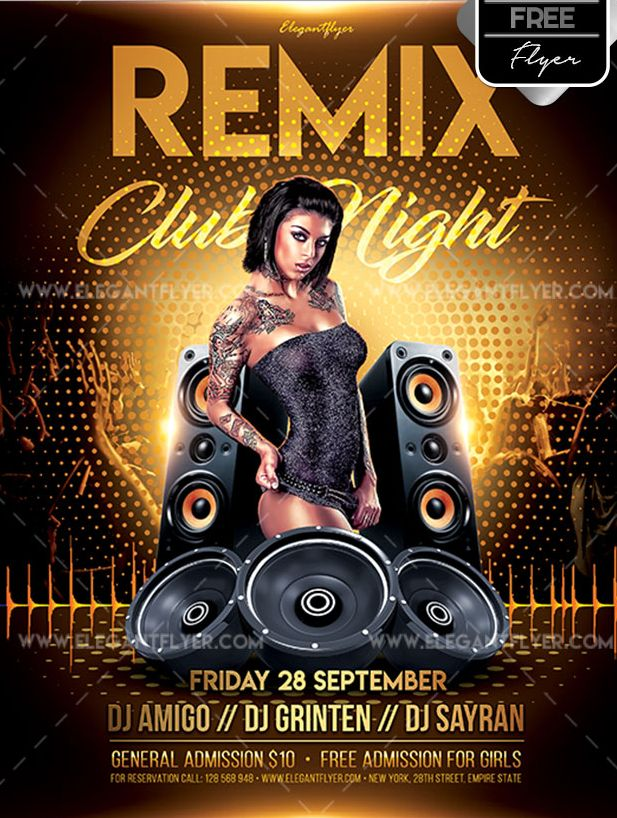 Remix Club Night – Free Flyer PSD Template - psdFlyer co