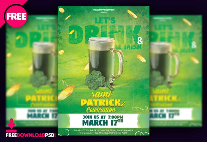 St. Patrick Day Flyer PSD Template