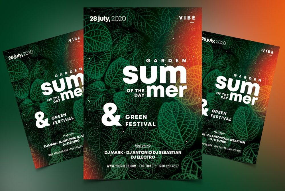 Summer Day Green Free PSD Flyer Template