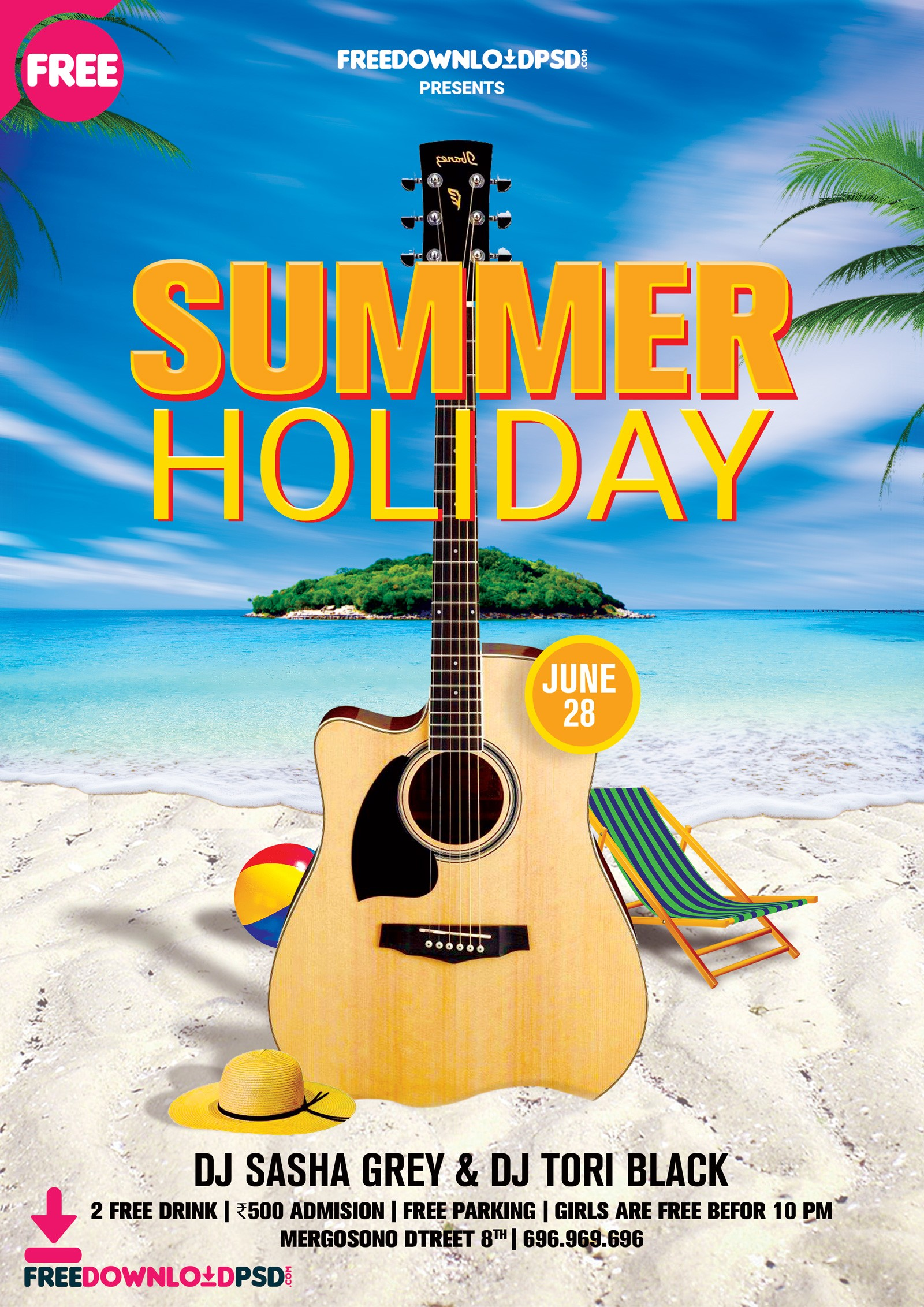 Summer Holiday Flyer Template PSD