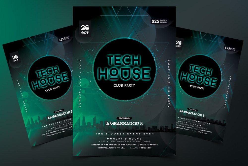 Tech House PSD Free Flyer Template