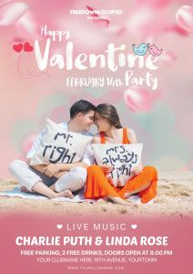 Valentine Day Party Flyer PSD Template