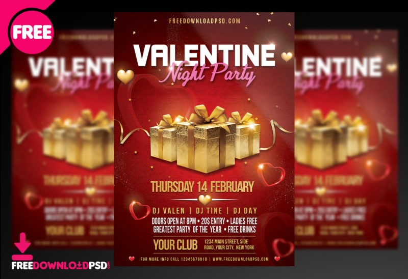 Valentine Night Party Flyer PSD Template