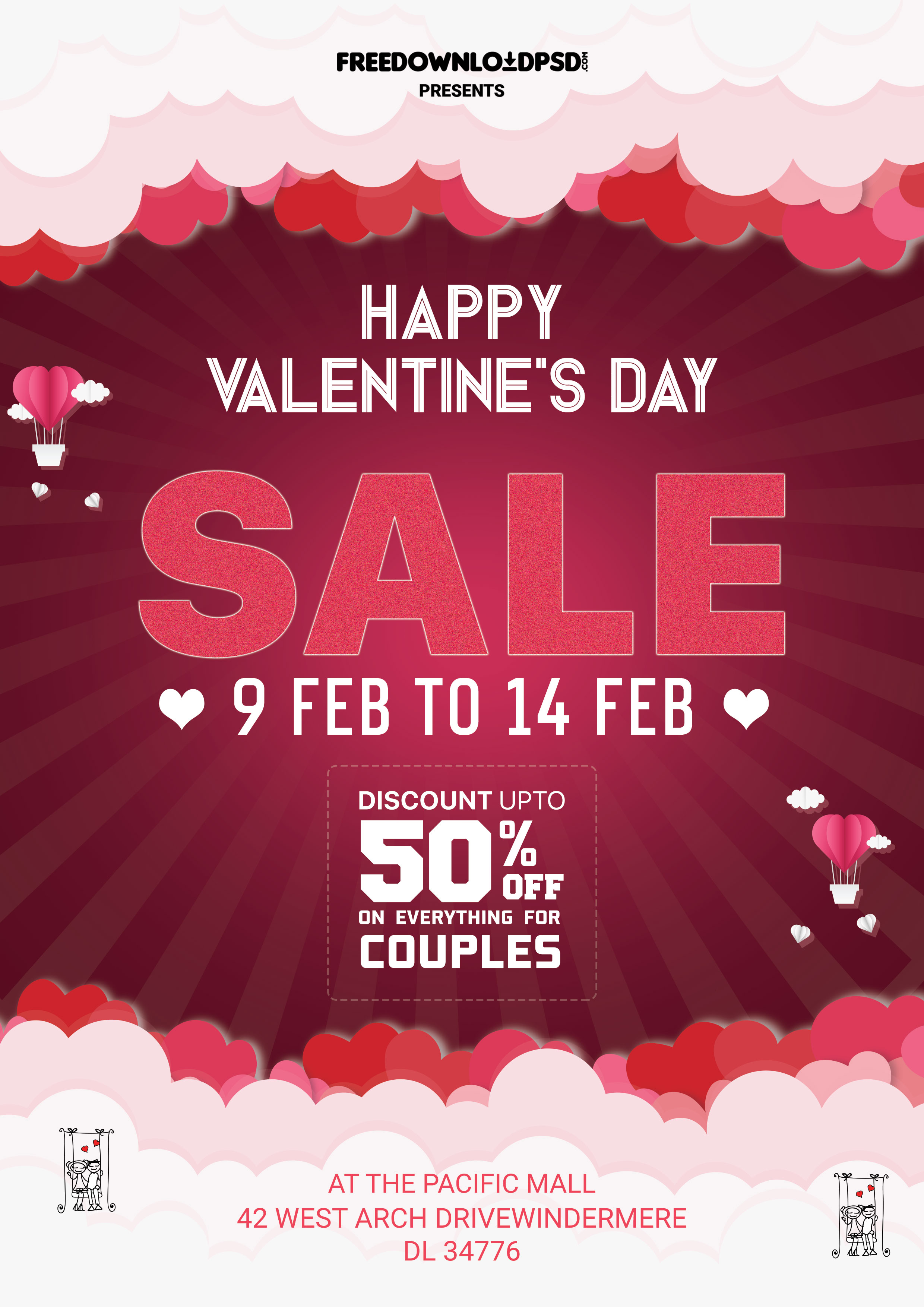 Valentine Sale Flyer PSD Template