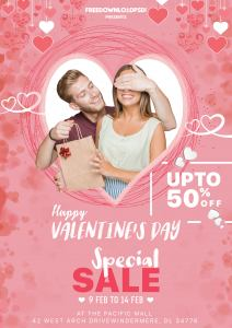 Valentines Day Free Sale Flyer PSD Template