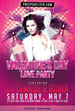 Valentines Day Love Party Event Free PSD Flyer Template