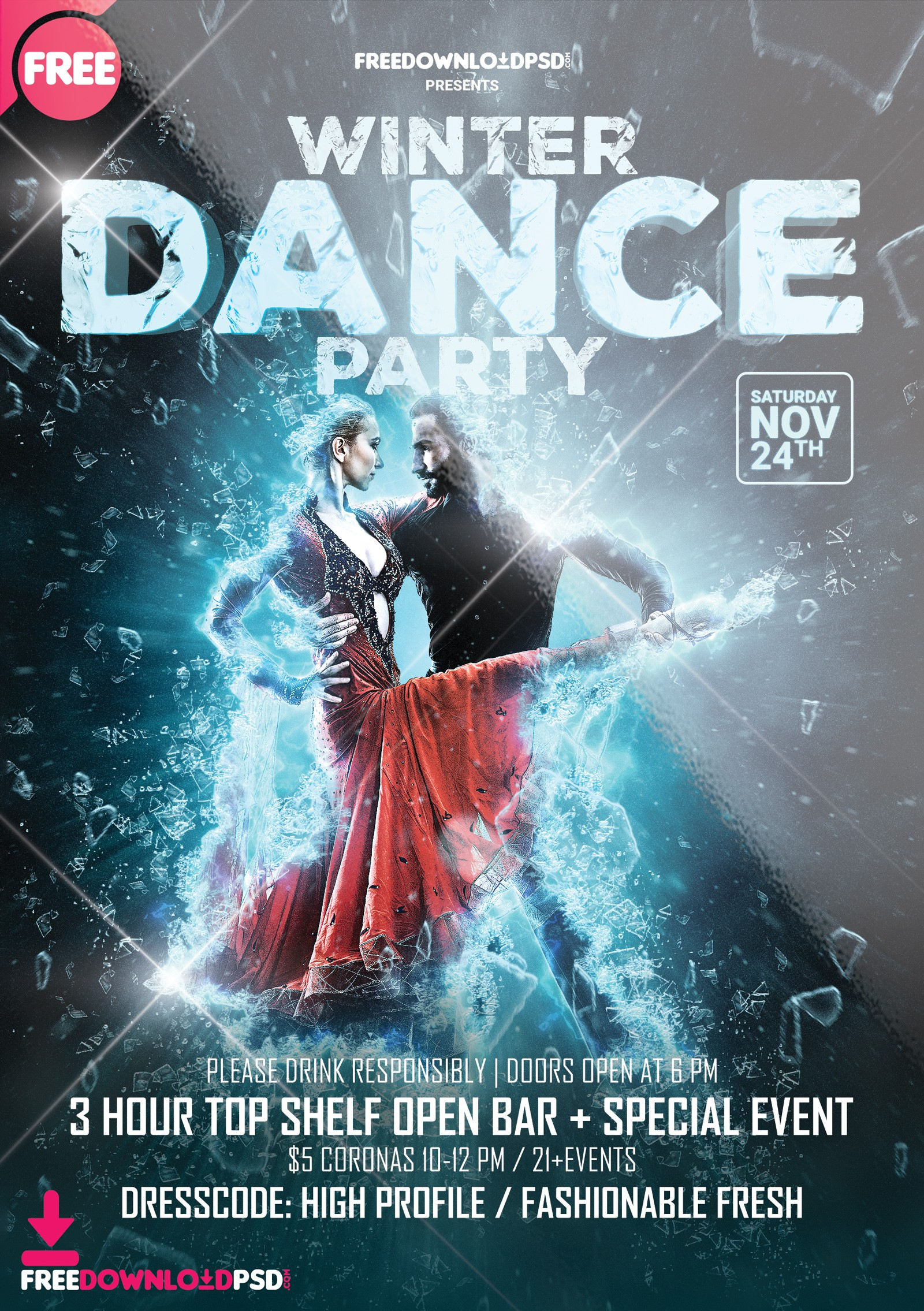 Winter Dance Party Template PSD
