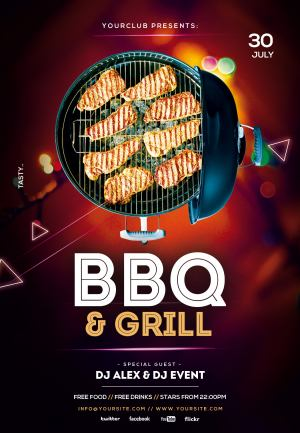 Free BBQ and Grill PSD Flyer Template