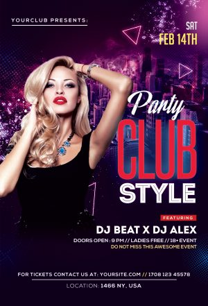 Club Style - Ladies Night Free PSD Flyer Template