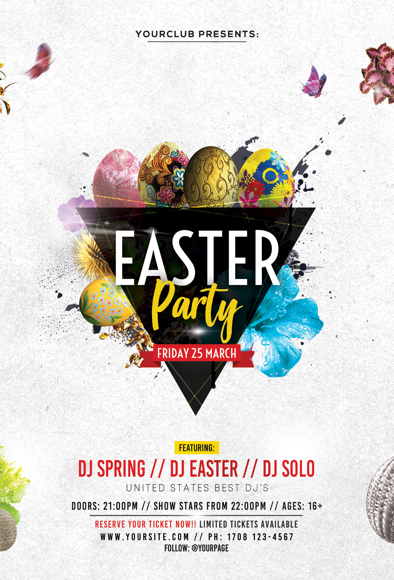 Easter Spring Party PSD Free Flyer Template